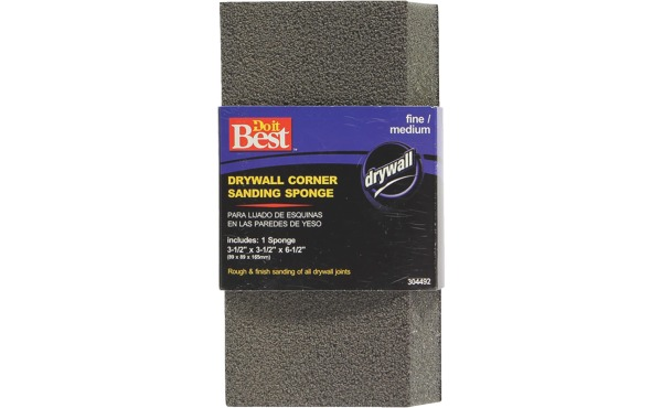 Do it Best Corner 3-1\/2 In. x 6-1\/2 In. x 3-1\/2 In. Fine\/Medium Sanding Sponge