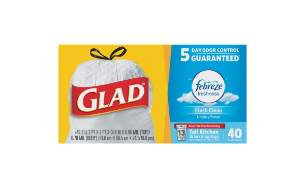 Glad Febreze 13 Gal. Fresh Scent Tall Kitchen White Trash Bag (40-Count)