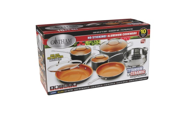 Gotham Steel Gray Non-Stick Aluminum Round Cookware Set (10-Piece)