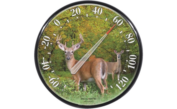 "Acurite 12-1\/2"" Dia Plastic Dial Deer Indoor & Outdoor Thermometer"